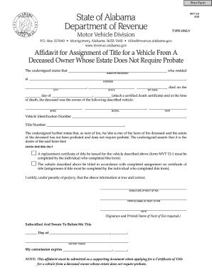 bill of sale form alabama motor vehicle affidavit form templates fillable printable samples. Black Bedroom Furniture Sets. Home Design Ideas