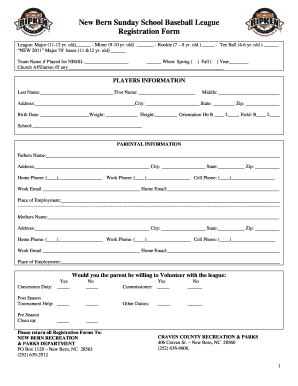 Printable baseball registration form fill online for Dance school registration form template free