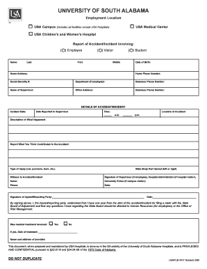 Employee Accident / Incident Report Form - southalabama