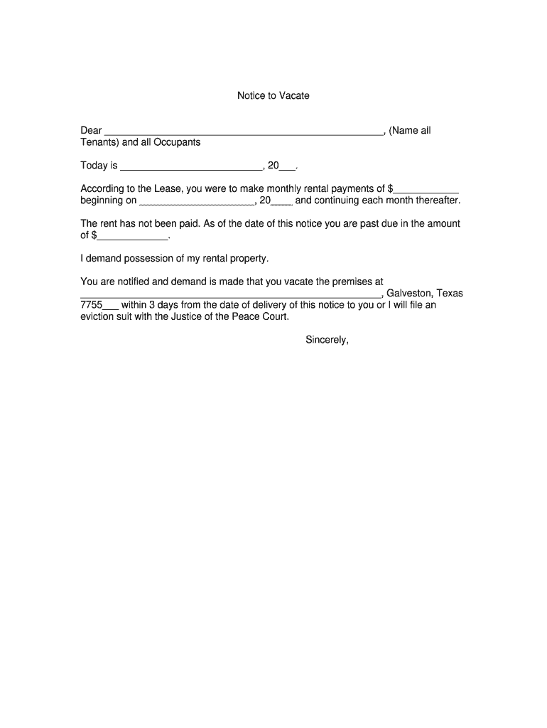 Notice To Vacate Form   Fill Online, Printable, Fillable, Blank   pdfFiller