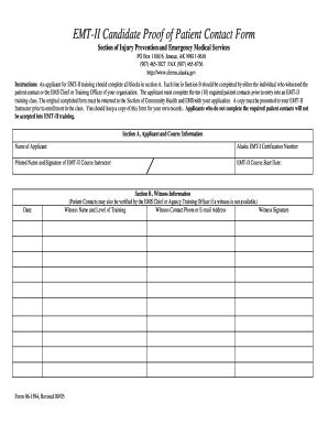 Fillable Online dhss alaska Patient Contact Form for EMT-II ...