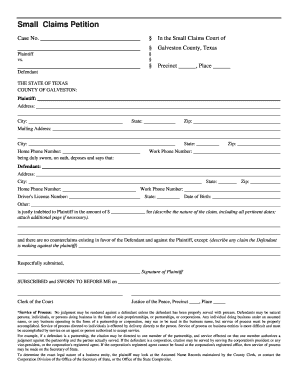 Galveston Small Claims - Fill Online, Printable, Fillable, Blank ...
