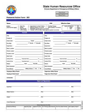 303 Form - Department of Emergency & Military Affairs - azdema