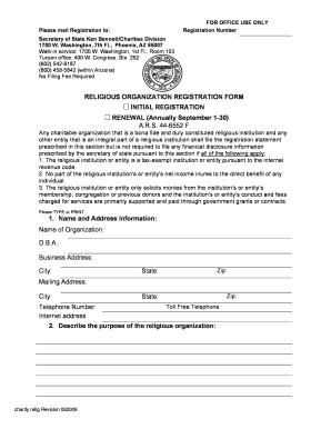 Fillable Online Religious Organization Registration/Renewal Form ...