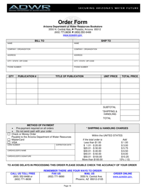 Order Form - Arizona Department of Water Resources - azwater