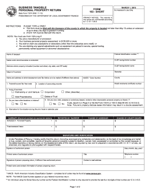 Fillable Online co hendricks in Form 103-Short (Business Tangible ...