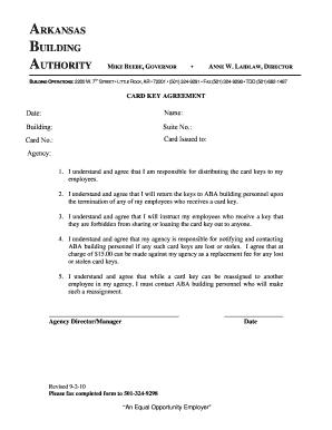 Fillable Online aba arkansas Card-Key Agreement - Arkansas ...