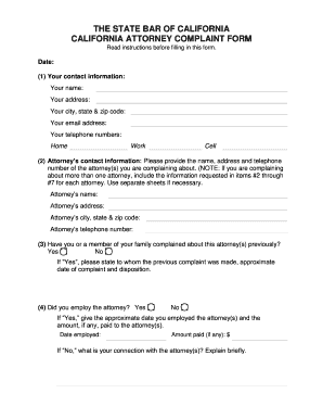california bar complaint form