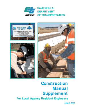 fillable online dot ca construction manual supplement caltrans rh pdffiller com caltrans construction manual pdf caltrans construction manual 2010