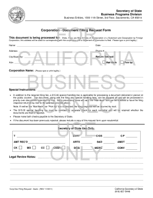 Corporation - Document Filing Request Form - California Secretary ...