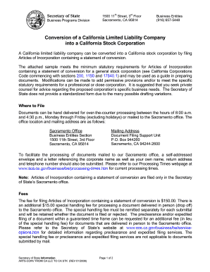 Conversion of a california llc into a california stock corporation fillable form