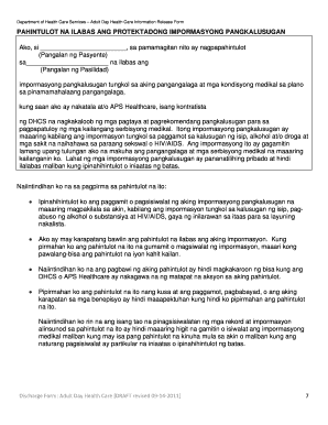 Fillable Online dhcs ca Tagalog Consent Form 10 7 11 doc