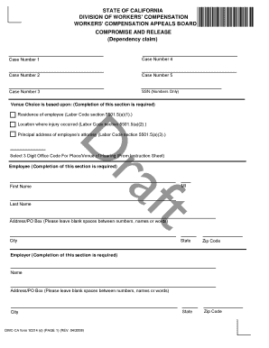 compromise and release ca wcab form
