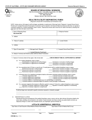 Health Facility Reporting Form ENF-805 - California Board of ... - bbs ca