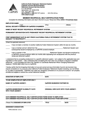 calpers member reciprocal self certification form fillable