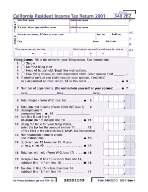 California Tax Return 540 2ez - Fill Online, Printable, Fillable ...