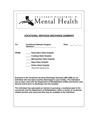 Discharge summary forms and templates fillable for Discharge summary template mental health