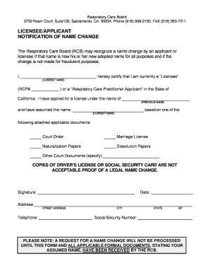 Fillable Online rcb ca Name Change Form - Respiratory Care Board ...