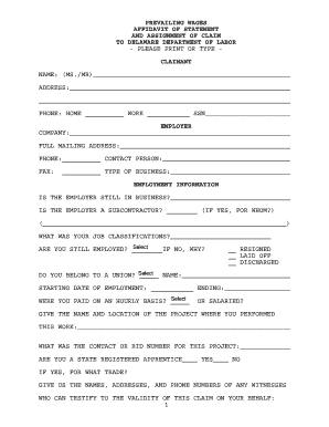 Fillable Online Prevailing Wage Claim Form - Delaware Department ...