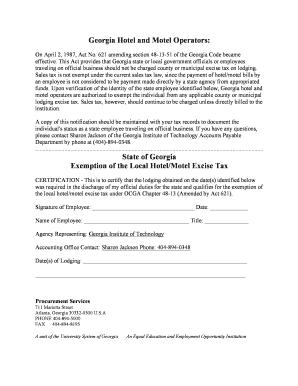 Fillable Online usg Georgia Hotel Tax Exemption Form - University ...
