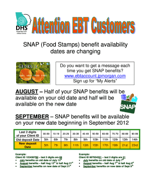 SNAP (Food Stamps) benefit availability Fill Online