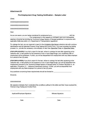 Fillable Online tcsg Attachment B - Pre-Employment Drug