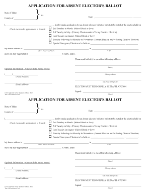 fillable online sos idaho absentee ballot request form