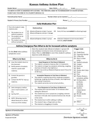 Action Plan In Pdf | Fillable Online Kdheks Kansas Asthma Action Plan Pdf Kdheks Fax