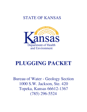 PLUGGING PACKET - Kansas Department of Health & Environment