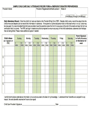 SAMPLE CHILD CARE DAILY ATTENDANCE RECORD FORM for ...