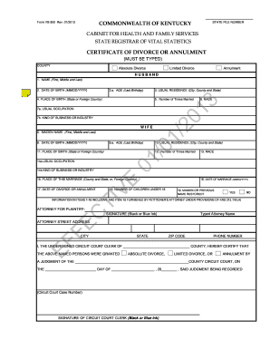 Fillable Online EFFECTIVE 01/01/2013 - Kentucky: Cabinet for ...