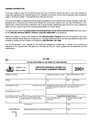 Kentucky Revenue Cabinet Installment Agreement - Fill Online ...
