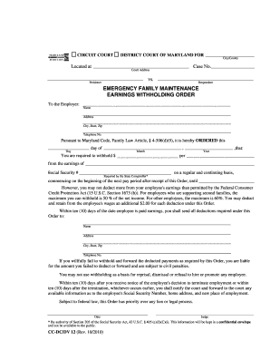 Maryland Earnings Withholding Order Form - Fill Online, Printable ...