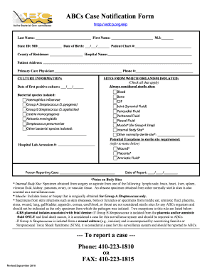 ABCs Case Notification Form - IDEHA - ideha dhmh maryland