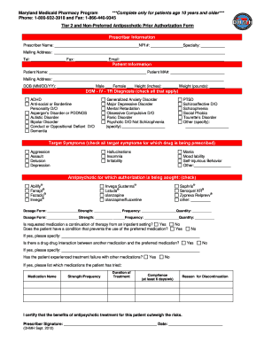Maryland Antipsychotic Prior Authorization Form - Fill Online ...