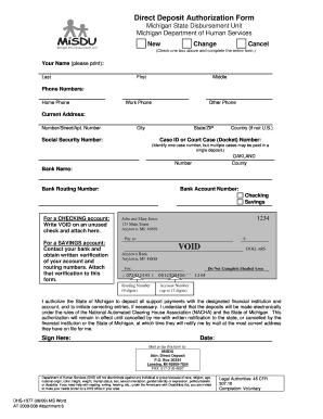 Fillable Online Direct Deposit Authorization Form (DHS-1377 ...