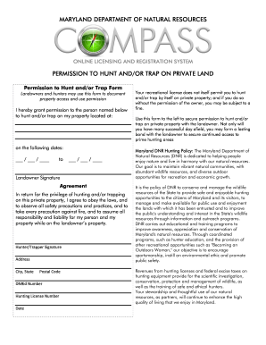Hunting permission form fill online printable fillable for Md dnr fishing license