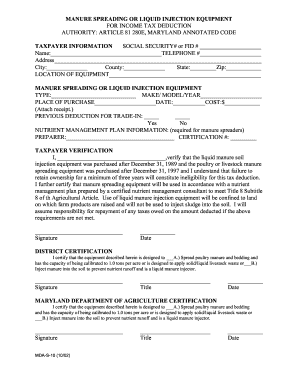 Fillable Online Mda Maryland Tax Form Manure Spreading Or