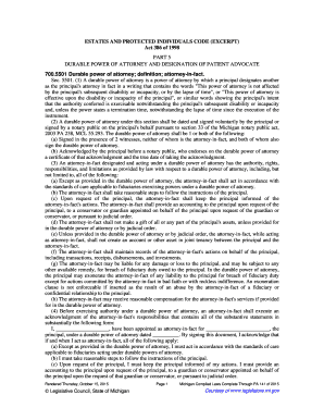 Act 386 of 1998 PART 5 DURABLE POWER OF ATTORNEY AND ... - legislature mi