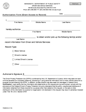 Authorization Form (Grant Access To Record) - Minnesota  - dps mn