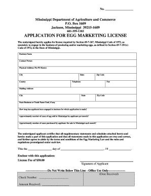 Fillable Online Egg Marketing Application Short Form - Mississippi ...
