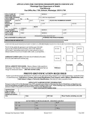 Fillable Online Msdh State Ms Application For Certified Mississippi Birth Certificate Mississippi State Msdh State Ms Fax Email Print Pdffiller
