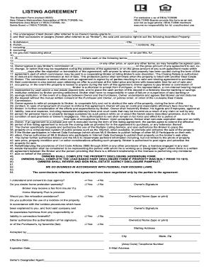 Listing Agreement Standard Form New Orleans 2013 Undersigned ...