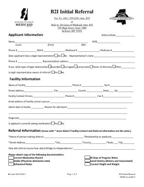 Fillable Online medicaid ms B2I Initial Referral Form ...