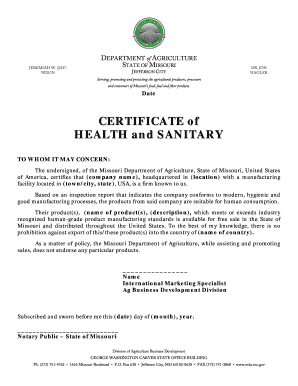 Fillable Online Mda Mo Example Of Certificate Of Health And Sanitary