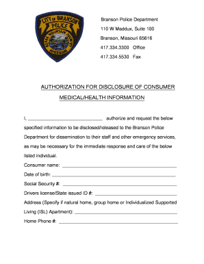Fillable Online dmh mo Branson Police Department Medical Release ...