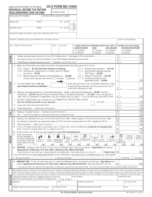 2012 tax return instructions