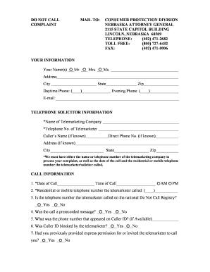Fillable Online ago ne Do Not Call List Complaint Form - Nebraska ...