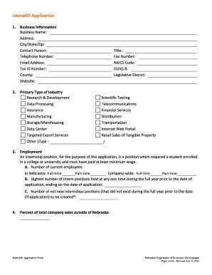 InternNE Business Application - Nebraska Department of Economic ...