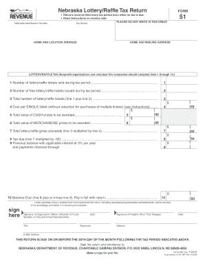 Fillable Online revenue ne Form 51, Nebraska Lottery/Raffle Tax ...